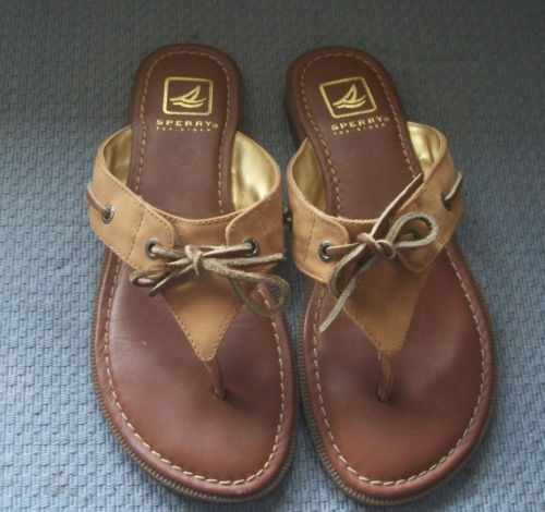 Sperry Topsiders Brown Leather Thong Sandals  Sz. 7