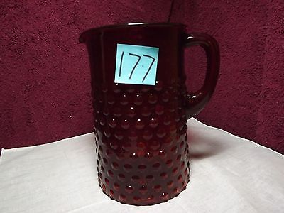 Hobnail Cranberry Pitcher 8 inch