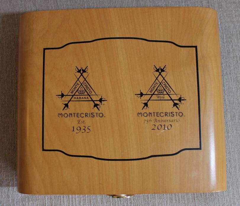 Montecristo 75th Anniversary wood Cigar Box Humidor holds 20 cigars