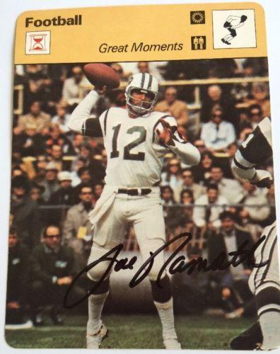 Joe Namath Signed Great Moments Football Card 1979 COA/SGC