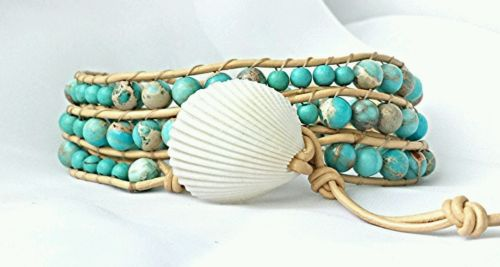 beach bracelet, blue bracelet, sea shell bracelet, leather wrap, wrap bracelet