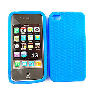 Cell Armor Deluxe Silicone Texture Skin Case for Apple iPhone 4G - Blue