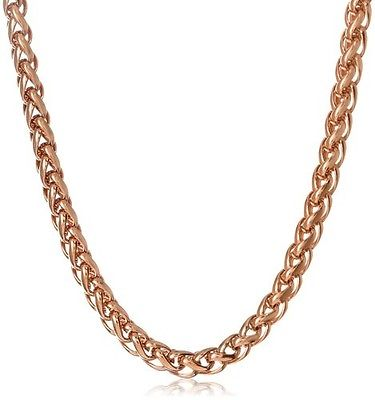Stainless Steel 5mm Spiga Chain Rose Gold Plated Necklace, 18. NWT. Gold, Mens