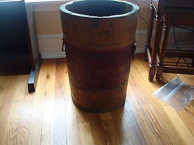 PRIMITIVE ANTIQUE WOODEN STAVE BARREL MARKED MT TACOMA ICE CREAM CO.