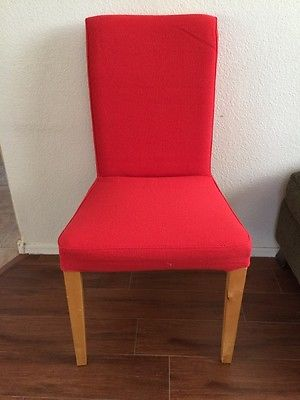 NEW RARE 2 IKEA HENRIKSDAL RED CHAIR SLIPCOVERS $25 BEAUTIFUL FABRIC!