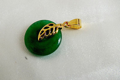 GREEN JADE CHINESE GOLD PL LEAF PENDANT NECKLACE WEDDING BIRTHDAY PARTY PO F3