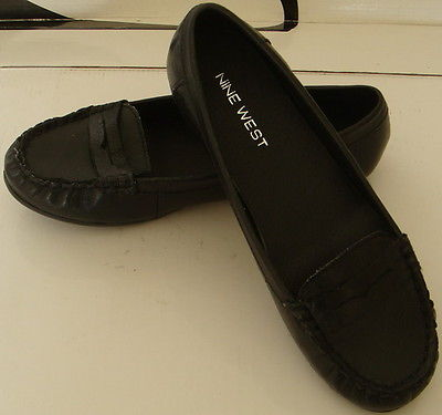 NINE WEST Pure black leather with flat shoes 5.5M