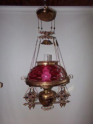 Antique Meriden Malleable Hanging Oil Lamp