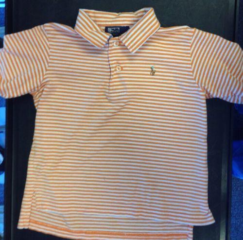 Boy's Polo Ralph Lauren Orange Striped Shirt Size 3/3T