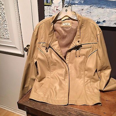 Dress Barn Faux Leather Coat Tan Woman's Plus
