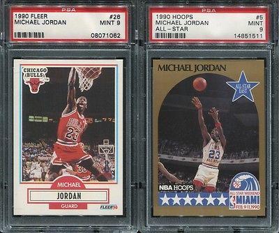 1990 90 HOOPS ALL-STAR BASKETBALL MICHAEL JORDAN PSA 9 MINT #5 BULLS 51511 GOLD
