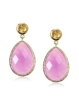 18 k Gold Plated Jardin Yellow/Lavender Agate Drop Earrings. MSRP $369.00.  NWT