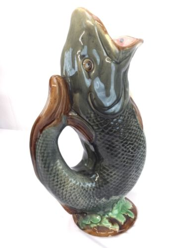 Magnificent Antique Majolica Fish Pitcher