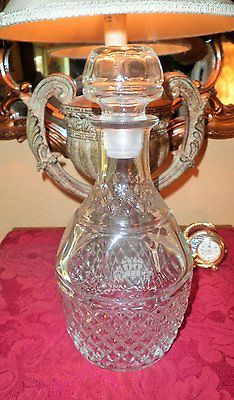 VGT CLEAR Crystal  PRESSED & ETCHED GLASS DIAMOND DESIGN DECANTER