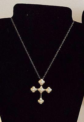 Vintage Dark Silver Cross Adjustable Chain Necklace