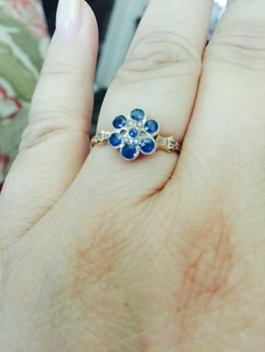 Pretty Antique Blue Sapphire Ring Flower Shape Pearls Yellow Gold