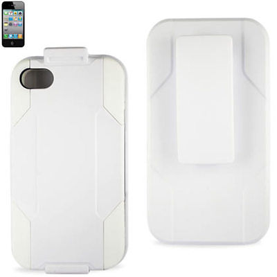 Reiko Silicon Case Protector Cover iPhone4G HOLSTER WITH CLIP WHITE