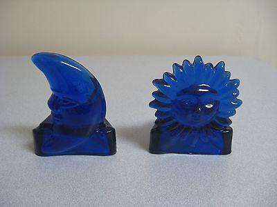 Sun And Moon Lunar Solar Blue Glass Candle Holders Celestial