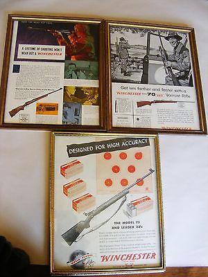 WINCHESTER  Vintage Advertisments  LOT of 3  8X10  Framed