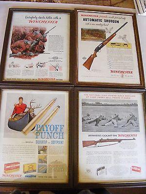 WINCHESTER  Vintage Advertisments  LOT of 4  9X12  Framed
