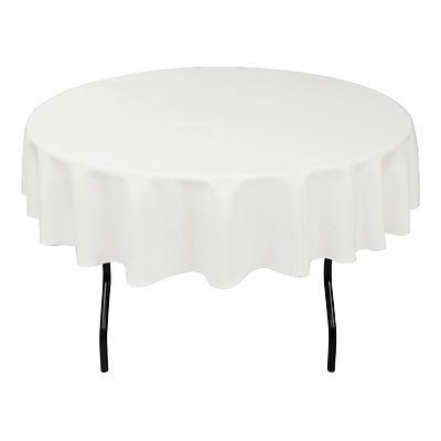LinenTablecloth 70-Inch Round Polyester Tablecloth White
