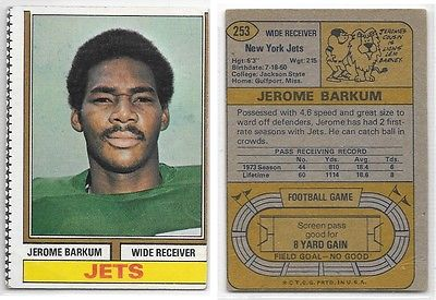 1974 Topps Jerome Barkum #253, New York Jets Football Card