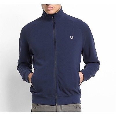Fred Perry Men Sweats Hoodies Pique Track Jacket Carbon