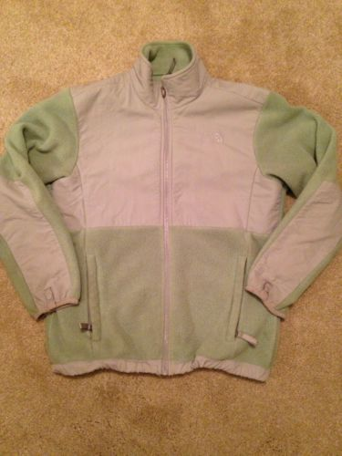 Girls The North Face Denali Jacket, Green and Gray, Size L