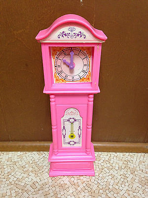 Barbie Doll Size Pink Grandfather Clock Living Room Furniture Decor