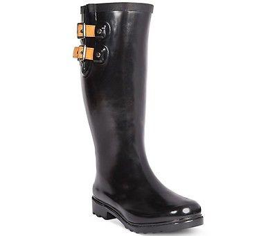 Chooka Women's Top Solid Rain Boots Size 10 Black Rubber