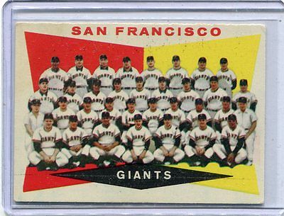 1960 Topps Baseball Card San Francisco Giants Team Card Near Mint # 151