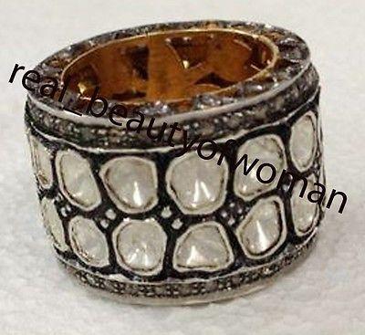 Artdeco Design 4.86cts Natural Single Polki Antique Cut Diamond Silver Ring Band