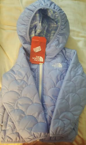 North Face Girls Reversible Perrito Puffer Jacket New W Tag Size 3T Dynasty Blue