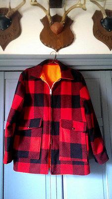 Vintage Woolrich Hunting Jacket Buffalo Plaid Orange Reversible Large Mackinaw