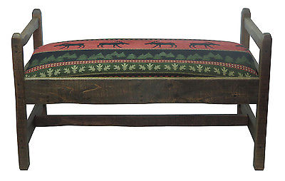 Barn Wood Upholstered Bench Red Moose Fabric