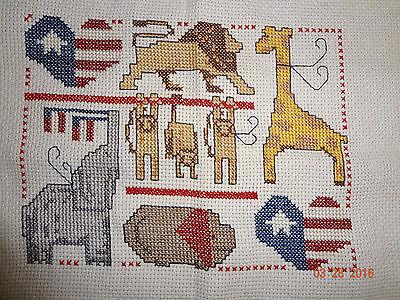 Patriotic Animals Finished Cross Stitch