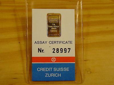 CREDIT SUISSE 1 GRAM 999.9 GOLD BAR VINTAGE OLD NUMBERED IN ASSAY
