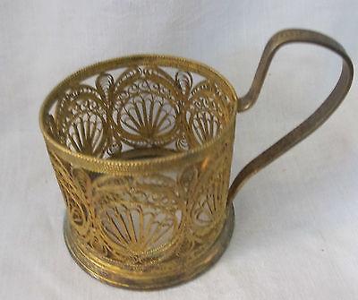 Russian Gilt Silverplate Filigree Tea Glass Holder Signed