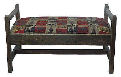 Barn Wood Upholstered Bench Red Cabin Fabric