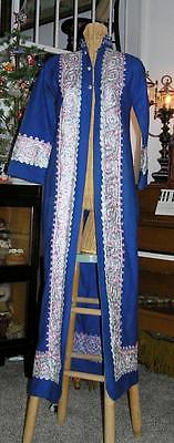 Vintage Middle Eastern Lebanon Wool Embroidered Long Women's Coat Dress size S