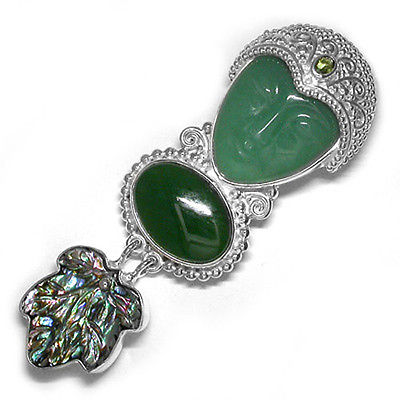 Offerings Sajen 925 Sterling Silver Aventurine Goddess Pin with Jade and Paua