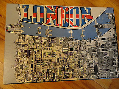 London Union Jack 2-sided jigsaw Puzzle Vintage 1970 425 pieces