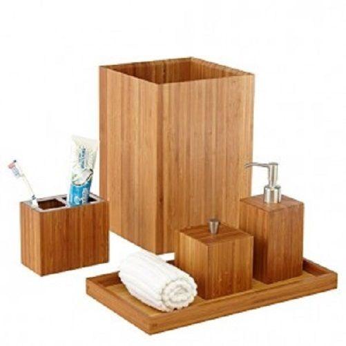Seville Classics Bamboo Wooden 5 Piece Bath & Vanity Set - Soap/Lotion Dispenser