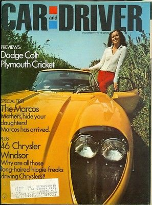 1970 Car & Driver Magazine: Dodge Colt/Plymouth Cricket/Marcos/Chrysler Windsor