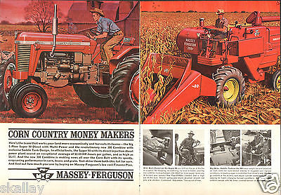 1963 2 Page Print Ad of Massey Ferguson MF Super 90 Farm Tractor & 300 Combine