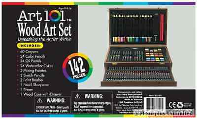 Red Brown Art Wood Set Color Case Pencil Colored All Their Artist Hinged