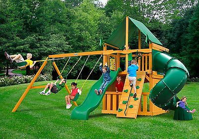 Gorilla Playset Mountaineer Clubhouse w/Amber Post and Deluxe Green Vinyl Canopy