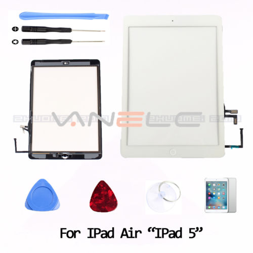 For iPad Air Ipad 5 White Touch Screen Glass Digitizer + Adhesive+ Home Button