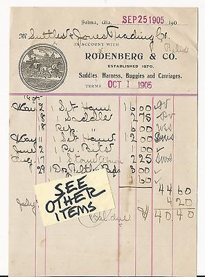 SELMA, ALABAMA 1905 INVOICE OF RODENBERG & CO., SADDLES,HARNESS,BUGGIES,CARRIAGE