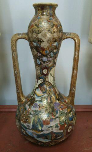 Large heavily decorated japanese Satsuma Vase